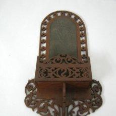 Antigüedades: 1900 BALCON MODERNISTA - CERILLERO MADERA NOBLE. Lote 132032474