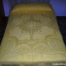 Antigüedades - Colcha de algodon color amarillo - 132041994