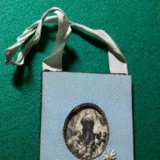 Antigüedades: ANTIGUO RELICARIO VIRGEN SOBRE TELA BORDADA S. XIX. Lote 132042050