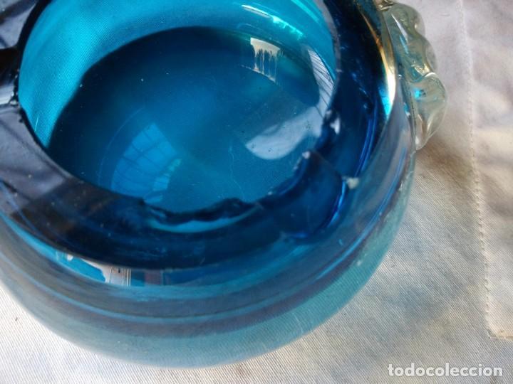 Antigüedades: Cenicero de cristal de murano en azul mar y transparente. - Foto 5 - 132050482