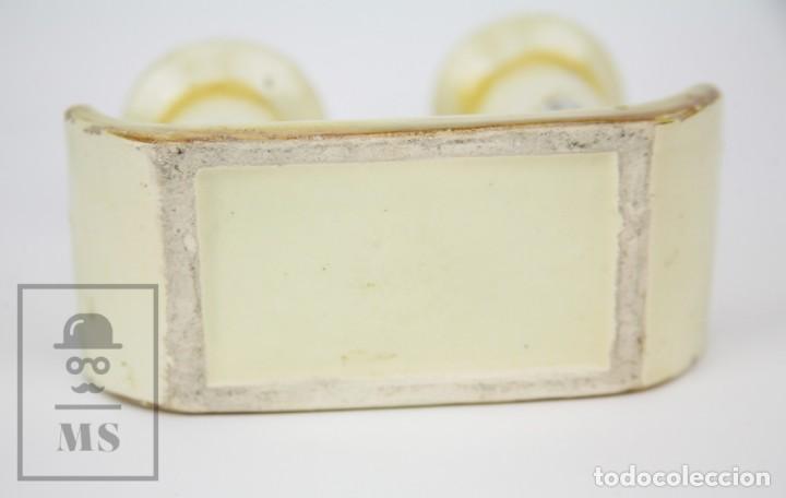 Antigüedades: Antiguo Candelabro de Cerámica Vidriada - Valldecabres, Manises / Sello en Base - Principios S. XX - Foto 7 - 132079178