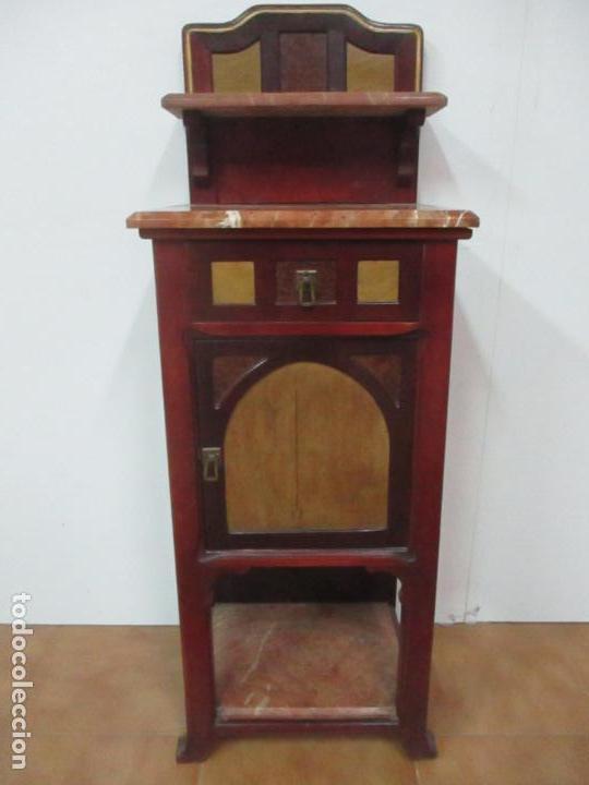 BONITA MESITA ART DECO - MADERA DE CAOBA Y LIMONCILLO - MÁRMOL ROJO ALICANTE - PRINCIPIOS S. XX (Antigüedades - Muebles Antiguos - Auxiliares Antiguos)