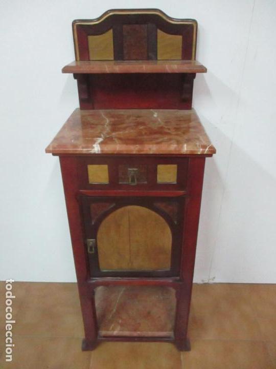 Antigüedades: Bonita Mesita Art Deco - Madera de Caoba y Limoncillo - Mármol Rojo Alicante - Principios S. XX - Foto 2 - 132100426