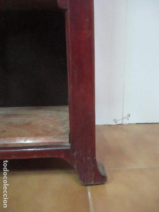 Antigüedades: Bonita Mesita Art Deco - Madera de Caoba y Limoncillo - Mármol Rojo Alicante - Principios S. XX - Foto 3 - 132100426