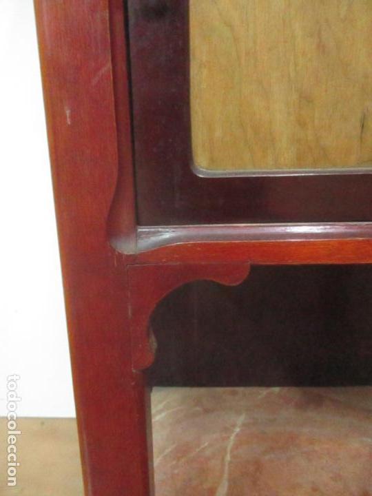 Antigüedades: Bonita Mesita Art Deco - Madera de Caoba y Limoncillo - Mármol Rojo Alicante - Principios S. XX - Foto 4 - 132100426