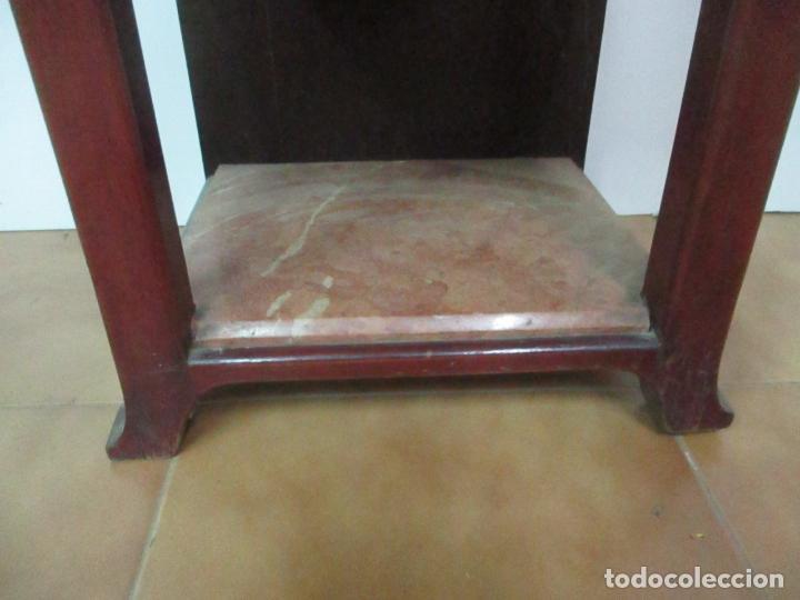 Antigüedades: Bonita Mesita Art Deco - Madera de Caoba y Limoncillo - Mármol Rojo Alicante - Principios S. XX - Foto 5 - 132100426
