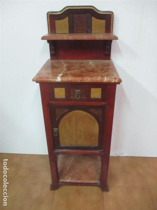 Antigüedades: Bonita Mesita Art Deco - Madera de Caoba y Limoncillo - Mármol Rojo Alicante - Principios S. XX - Foto 6 - 132100426