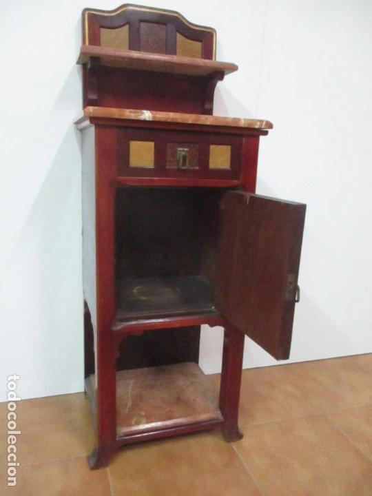 Antigüedades: Bonita Mesita Art Deco - Madera de Caoba y Limoncillo - Mármol Rojo Alicante - Principios S. XX - Foto 14 - 132100426