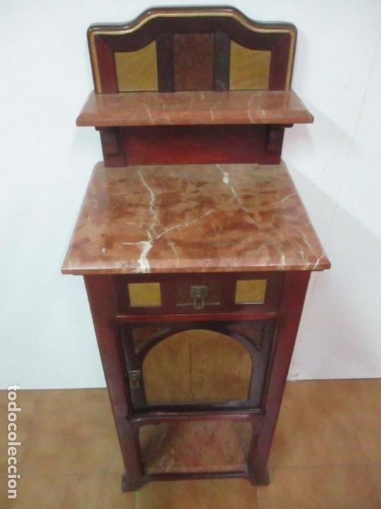 Antigüedades: Bonita Mesita Art Deco - Madera de Caoba y Limoncillo - Mármol Rojo Alicante - Principios S. XX - Foto 16 - 132100426