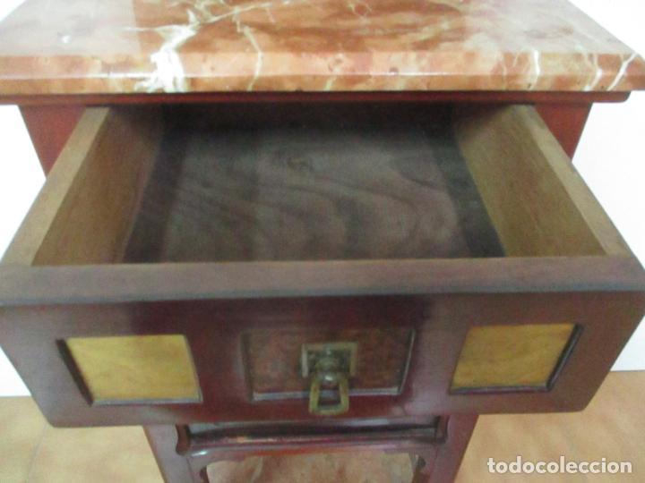 Antigüedades: Bonita Mesita Art Deco - Madera de Caoba y Limoncillo - Mármol Rojo Alicante - Principios S. XX - Foto 17 - 132100426