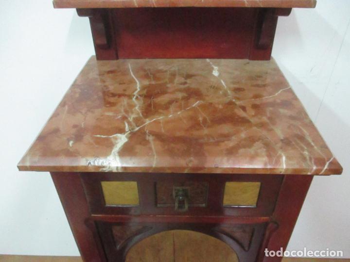 Antigüedades: Bonita Mesita Art Deco - Madera de Caoba y Limoncillo - Mármol Rojo Alicante - Principios S. XX - Foto 19 - 132100426