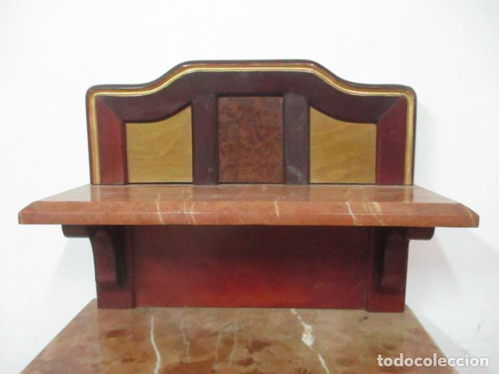 Antigüedades: Bonita Mesita Art Deco - Madera de Caoba y Limoncillo - Mármol Rojo Alicante - Principios S. XX - Foto 20 - 132100426