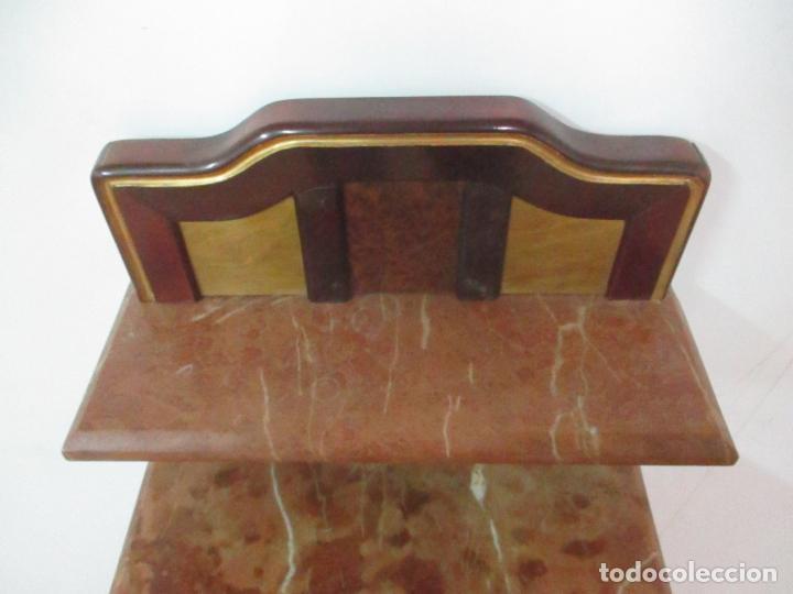 Antigüedades: Bonita Mesita Art Deco - Madera de Caoba y Limoncillo - Mármol Rojo Alicante - Principios S. XX - Foto 21 - 132100426