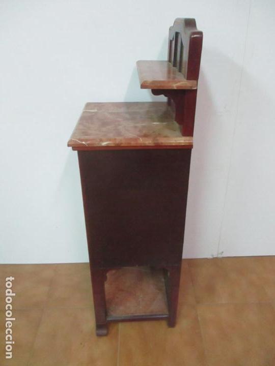Antigüedades: Bonita Mesita Art Deco - Madera de Caoba y Limoncillo - Mármol Rojo Alicante - Principios S. XX - Foto 27 - 132100426