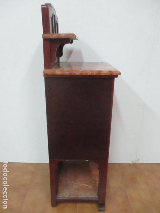 Antigüedades: Bonita Mesita Art Deco - Madera de Caoba y Limoncillo - Mármol Rojo Alicante - Principios S. XX - Foto 30 - 132100426