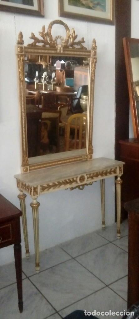 CONSOLA Y ESPEJO ESTILO LUIS XVI (Antigüedades - Muebles Antiguos - Consolas Antiguas)