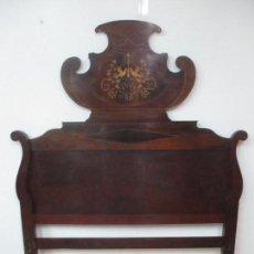 Antigüedades: CABEZAL DE CAMA ISABELINO - MADERA DE CAOBA - BONITA MARQUETERÍA, DE MADERA DE BOJ - S. XIX. Lote 132128418