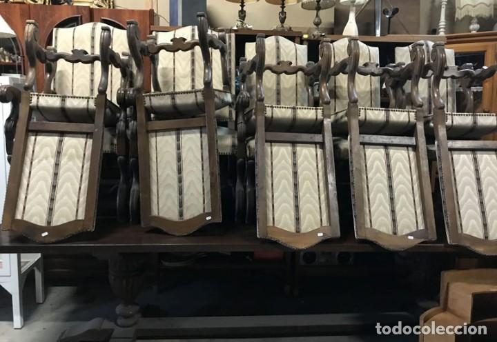 Antigüedades: CONJUNTO DE GRAN MESA DE ROBLE FRANCES CON 2 SILLONES Y 8 SILLAS TAPIZADAS - Foto 2 - 132136382