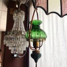 Antigüedades: LAMPARA TIPO QUINQUE CRISTAL VERDE -(18285). Lote 132159853