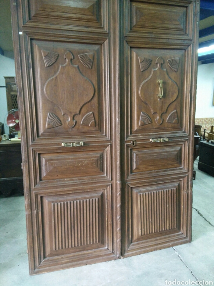 Antigüedades: Portón de dos hojas tallado - Foto 2 - 132189789