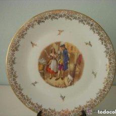 Antigüedades: BELLÍSIMO PLATO DE PORCELANA FRANCESA, SELLADO LIMOGES. Lote 132190458