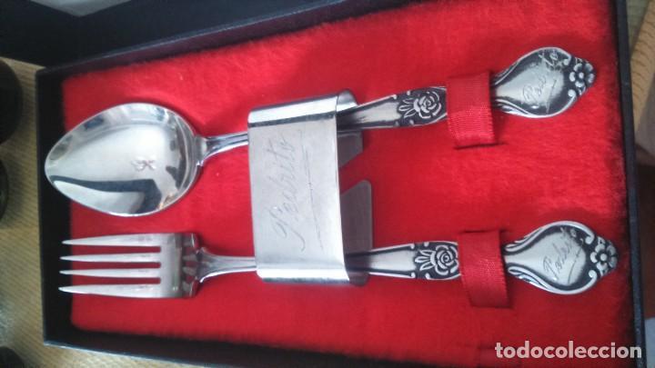 Antigüedades: Juego servicio estuche cuchara y tenedor cubiertos - Foto 2 - 132194002