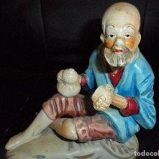 Antigüedades: ESCULTURA BORRACHO JAPONES - FIGURA DE IMPORTACION JAPON - . Lote 132203370