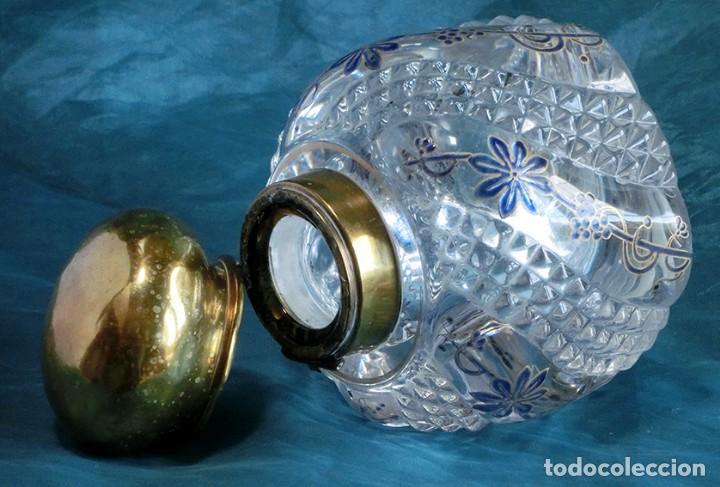 Antigüedades: ANTIGUA Y PRECIOSO TINTERO - CRISTAL TALLADO Y DECORADO A MANO - BOTELLA - GRUESO VIDRIO - NOUVEAU - Foto 9 - 132231842
