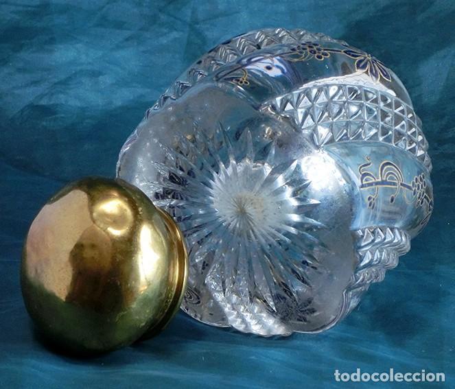 Antigüedades: ANTIGUA Y PRECIOSO TINTERO - CRISTAL TALLADO Y DECORADO A MANO - BOTELLA - GRUESO VIDRIO - NOUVEAU - Foto 14 - 132231842