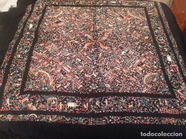 Antigüedades: Mantón cantonés principios sXX - Foto 2 - 132243098