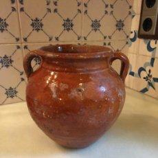 Antigüedades: ANTIGUO BOTE / JARRA / TUPÍ ORZA DE BARRO CATALÁN DEL SIGLO XIX . Lote 132252314