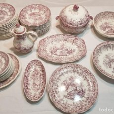 Antigüedades: VAJILLA COMPLETA TRANSFERWARE LUNEVILLE FRANCIA , DECOR INALTERABLE, COLOR LILA. Lote 132255174