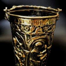 Antigüedades: ACETRE ECLESIASTICO PARA BENDICIONES - LATÓN DORADO - S. XIX. Lote 132261822