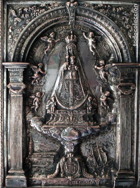 Antigüedades: ANTIGUA PLACA DE LA VIRGÉN DE BEGOÑA REALIZADA EN COBRE CON BAÑO DE PLATA - Foto 2 - 80387189