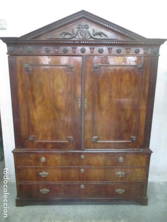Antigüedades: Preciosa Vitrina - Estilo Regencia (1800-1830) Inglaterra - Madera de Caoba - 241 cm Altura - S. XIX - Foto 55 - 132309442
