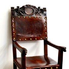 Antigüedades: SILLON DE DESPACHO - NOGAL Y CUERO - SIGLO XIX - (OFERTA). Lote 132317914