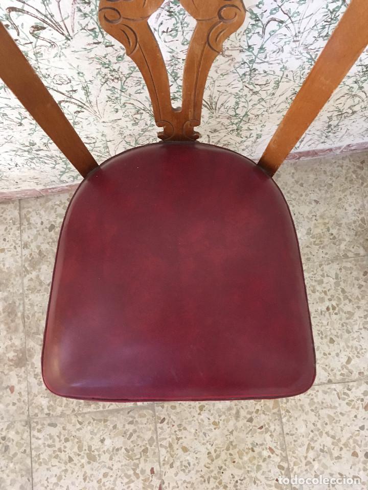Antigüedades: SILLA CON ASIENTO ESCAI GRANATE Y MADERA. VINTAGE - Foto 3 - 132348234