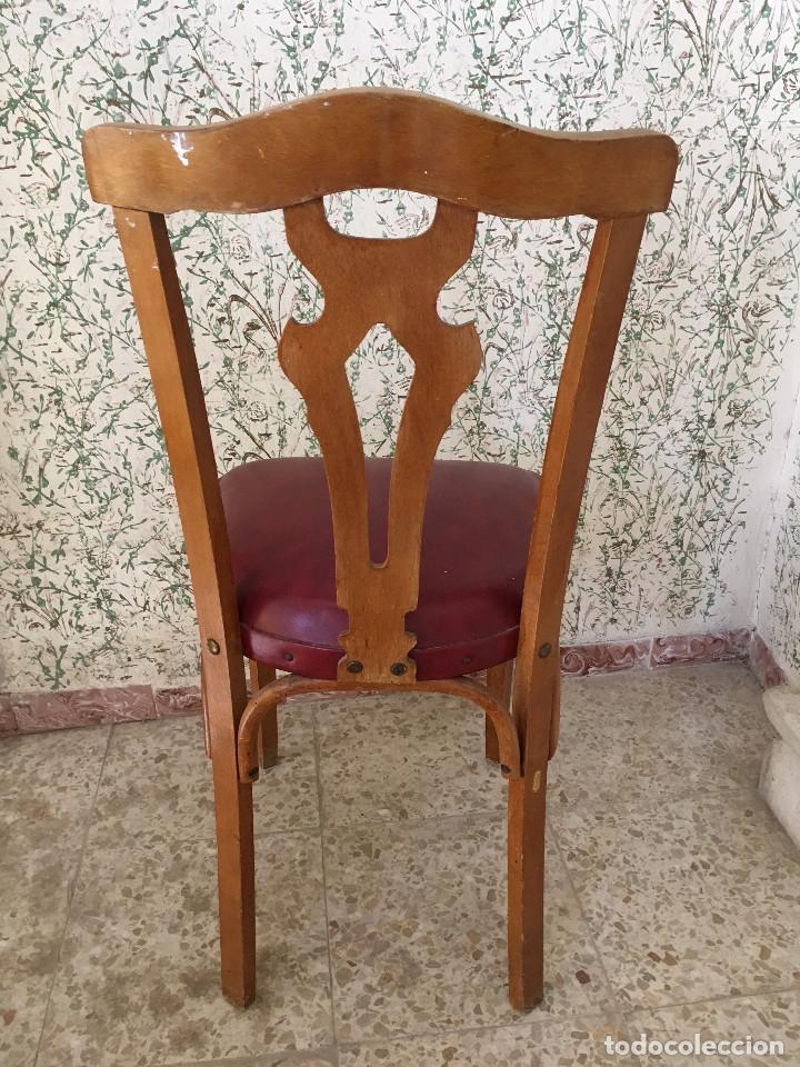 Antigüedades: SILLA CON ASIENTO ESCAI GRANATE Y MADERA. VINTAGE - Foto 4 - 132348234