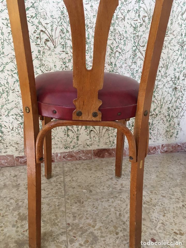 Antigüedades: SILLA CON ASIENTO ESCAI GRANATE Y MADERA. VINTAGE - Foto 5 - 132348234