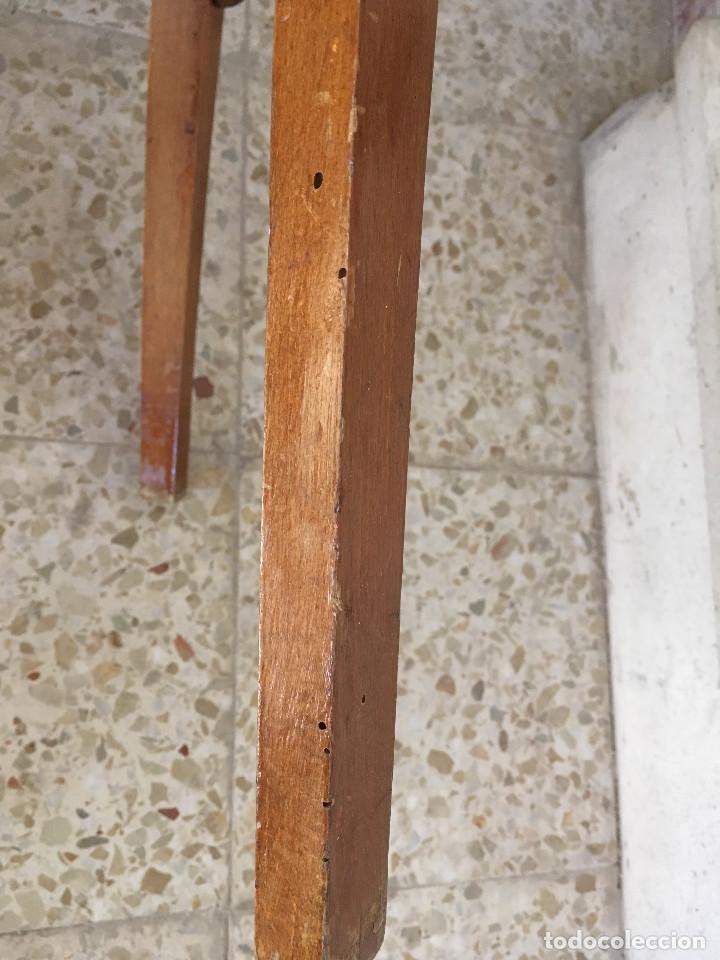 Antigüedades: SILLA CON ASIENTO ESCAI GRANATE Y MADERA. VINTAGE - Foto 10 - 132348234