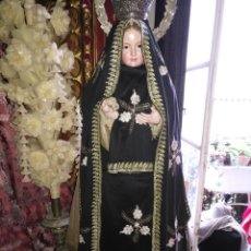 Antigüedades: TELAS BORDADAS MANTO DE VISTA Y SAYA PARA VIRGEN DOLOROSA SOLEDAD VESTIR 250 CM FRENTE SEMANA SANTA. Lote 132358534