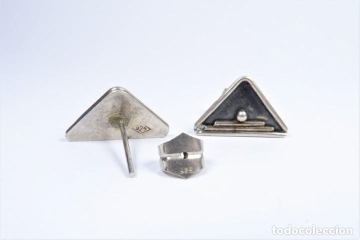 Antigüedades: Antiguo pendientes en plata 925 con símbolo ceremonial en forma de pirámide - Foto 4 - 49042172