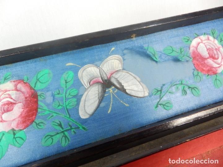 Antigüedades: Caja de abanico abaniquera oriental s XIX madera ebonizada seda pintada a mano. - Foto 6 - 132392738