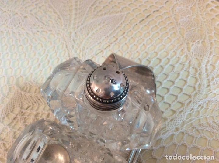 Antigüedades: Raro set de condimento inglés: salero, pimentero y mostacero de cristal tallado. Art Deco años 20 - Foto 7 - 132411209