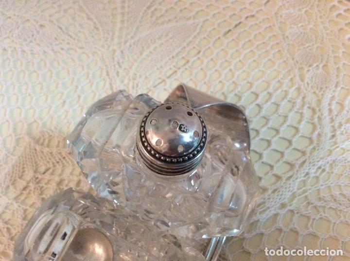 Antigüedades: Raro set de condimento inglés: salero, pimentero y mostacero de cristal tallado. Art Deco años 20 - Foto 8 - 132411209