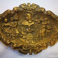 Antigüedades: BANDEJA DE BRONCE ANTIGUA EXCELENTE CONSERVACIÓN. Lote 132413342
