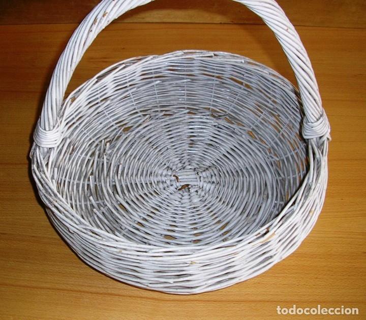 Antigüedades: Cesta de mimbre con asa. - Foto 2 - 132422638