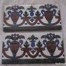 Antigüedades: PAREJA DE AZULEJOS MENSAQUE RODRIGUEZ. Lote 132426066
