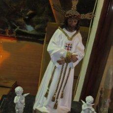 Antigüedades: CRISTO COFRADIA DE MALAGA TALLERES DE OLOT EN ESTUCO DE YESO. Lote 132461518