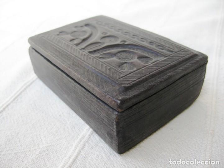 Antigüedades: CAJA DE MADERA FORRADA EN PIEL INTERIOR Y EXTERIOR ÚNICA - Foto 6 - 132465214